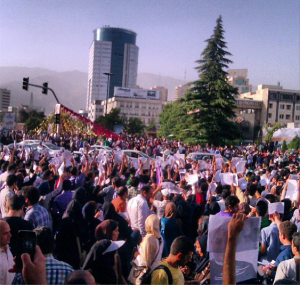 supporter rally in tehran rouhani