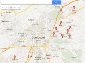 """Map showing locations of """"poison gas"""" attacks"""