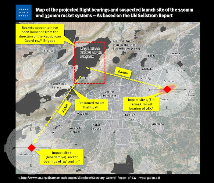 Syria Feature: Mapping Trajectories For The Chemical Weapons Rockets (HRW)
