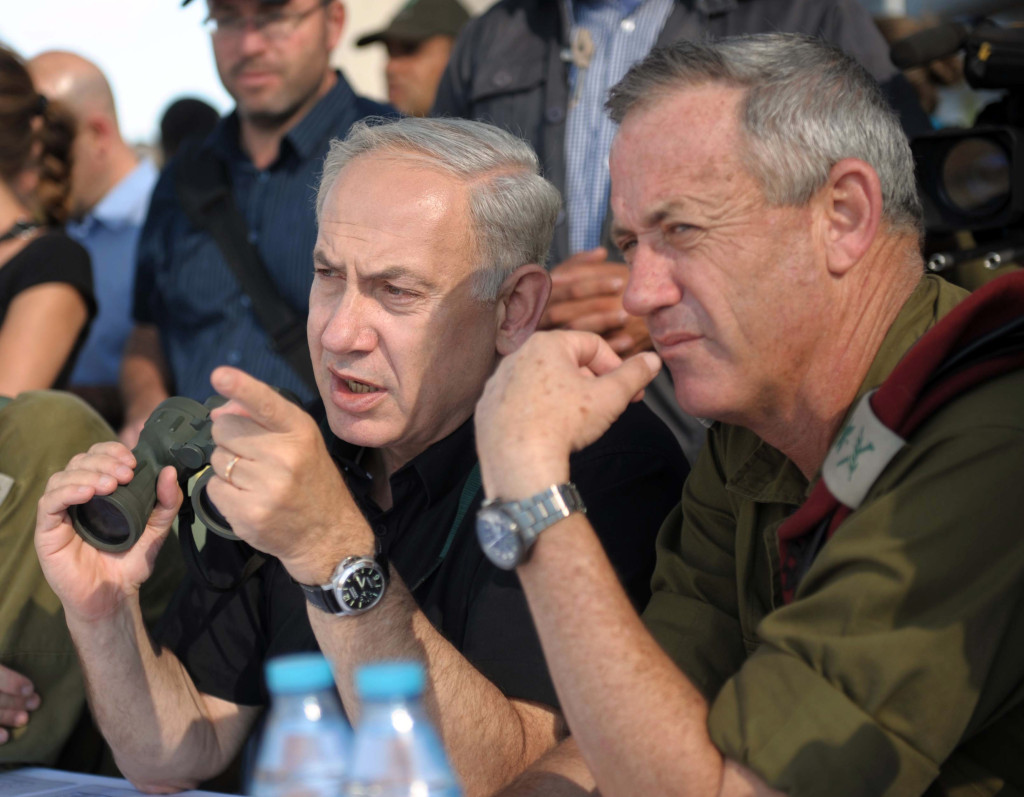 Israeli Prime Minister Benjamin Netanyahu on Golan Heights with Chief of Staff Lt Gen Benny Gantz