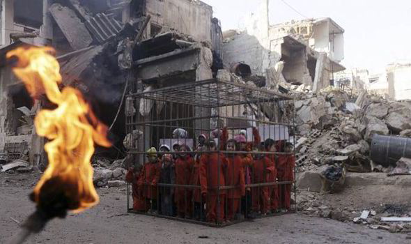 CHILDREN CAGE PROTEST ISLAMIC STATE EXECUTIONS