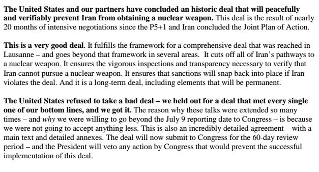 IRAN DEAL TALKING POINTS