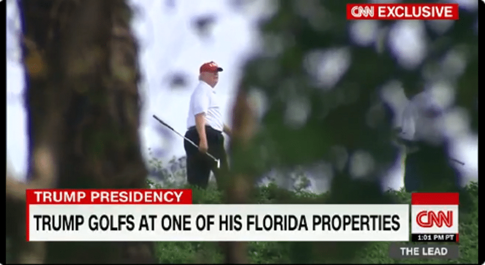 """Back to Work"" Trump Hides While Playing Golf"