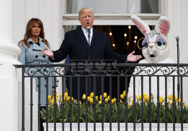 Trump's Bizarre Speech for Easter Egg Roll — Melania and Giant Bunny Unamused