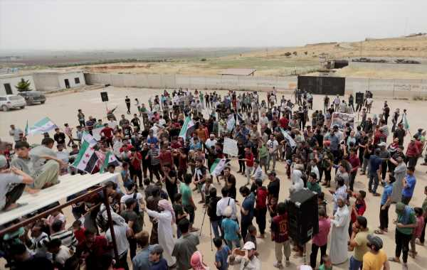 Gathering for the march near the Atmeh crossing, Idlib Province, northwest Syria, May 31, 2019