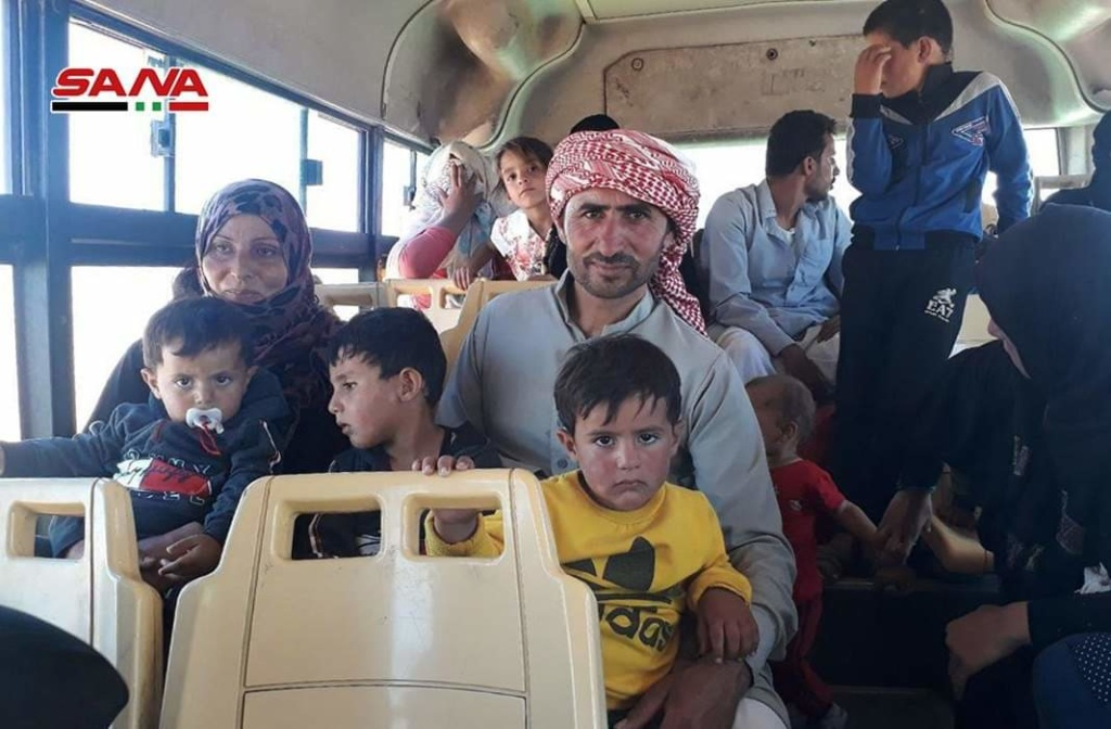 Residents removed from Rukban camp, southeast Syria, July 3, 2019