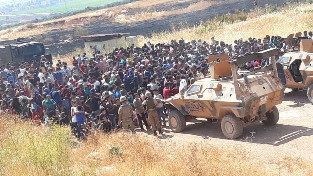 Syrians moving towards the closed Bab al-Hawa border with Turkey, Idlib Province, August 30, 2019