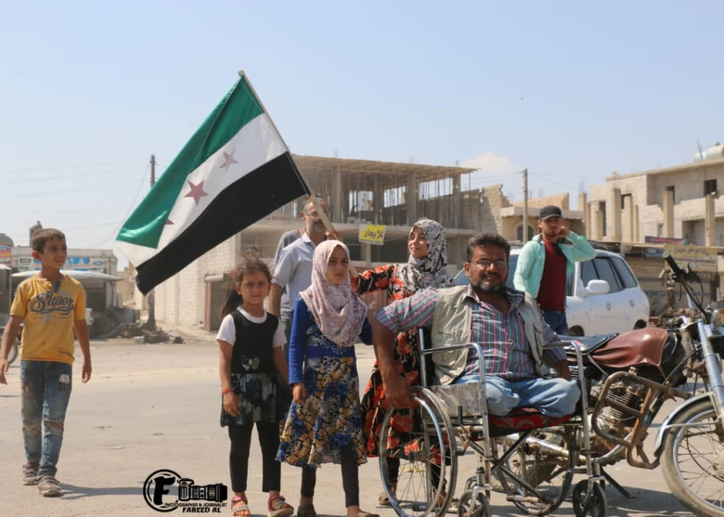 Residents on way to rally, Idlib Province, northwest Syria, September 6, 2019