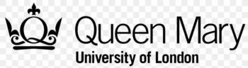Queen Mary University of London logo. Features stylised crown logo and the name of the institution in black text.