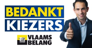 "Poster of Belgium's Vlaams Belang party: ""Thanks Voters!"""