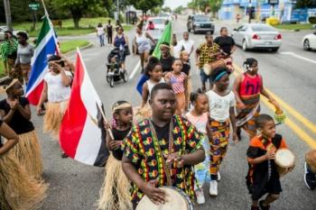 Juneteenth march in Flint, Michigan, June 19, 2020 (Jake May/AP)