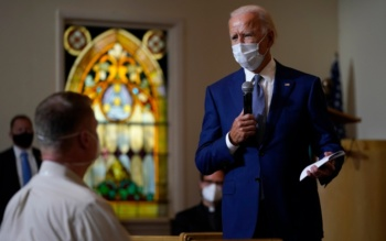 "Democratic Presidential candidate Joe Biden at a community ""listening session"" in Grace Lutheran Church, Kenosha, Wisconsin, September 3, 2020"