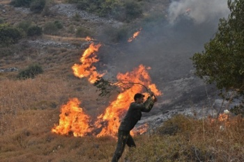 A man tries to put out a forest fire in northwest Syria, September 8, 2020 (SANA)