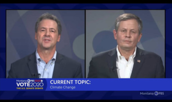 Steve Bullock and Steve Daines in their virtual debate, September 28, 2020
