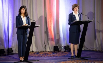 Sara Gideon and Susan Collins debate in Portland, Maine, September 11, 2020 (Brianna Soukup/AP)