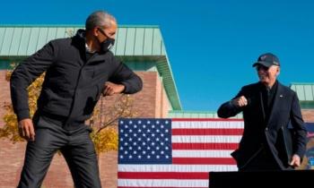 Barack Obama and Joe Biden campaign in Michigan, October 31, 2020