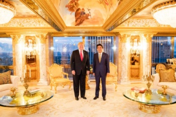Donald Trump with Japanese Prime Minister Shinzo Abe in Trump Tower