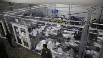 Juveniles inside a pod at the Donna, Texas holding facility, March 30, 2021 (Dario Lopez-Mills/AP)